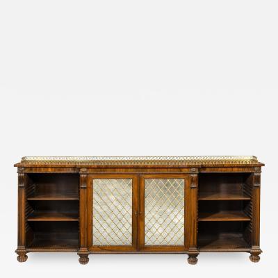Regency rosewood breakfront side cabinet open bookcase
