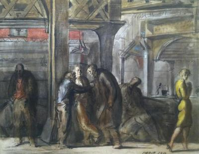 Reginald Marsh Chatham Square Under the El 1952
