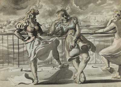 Reginald Marsh Girls on a Boardwalk