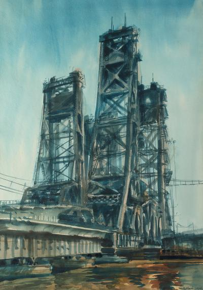 Reginald Marsh Lift Bridge Jersey Marshes 1936