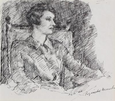 Reginald Marsh Portrait of a Woman probably the Artist s Wife Betty Burroughs