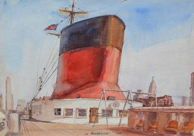 Reginald Marsh The SS Normandie in New York Harbor