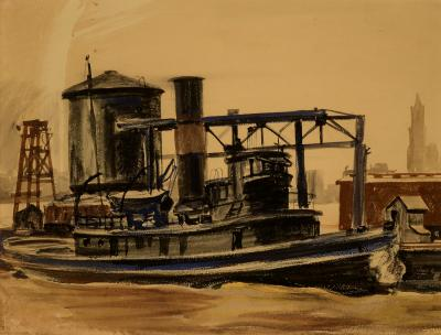 Reginald Marsh Tug on the East River with Woolworth Building