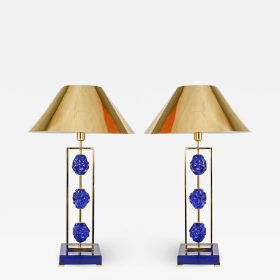 Regis Royant Pair of Murano Glass Lamps by Regis Royant