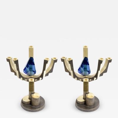 Regis Royant Pair of fantastic candles holder