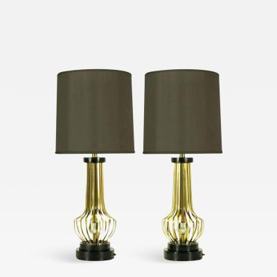 Rembrandt Lamp Company Pair of Rembrandt Brass Open Rib Table Lamps with Crystal Ball Centres