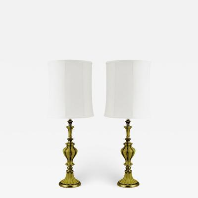 Rembrandt Lamp Company Pair of Rembrandt Brass and Antiqued Saffron Yellow Table Lamps