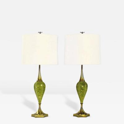 Rembrandt Lamp Company Pair of Rembrandt Green Ceramic and Brass Table Lamps