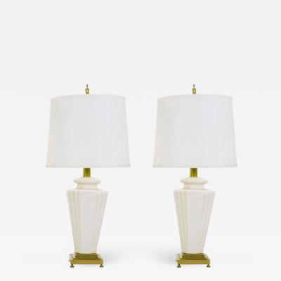 Rembrandt Lamp Company Pair of Rembrandt Lamp Company Art Deco Craquelure Glaze Table Lamps