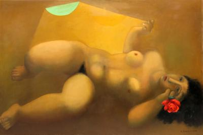 Remo Michael Farruggio Reclining Nude with Rose