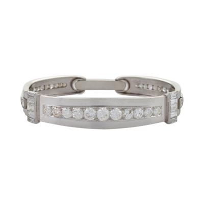 Ren Boivin Art Deco Diamond and Platinum Hinged Bangle Bracelet Attributed to Ren Boivin
