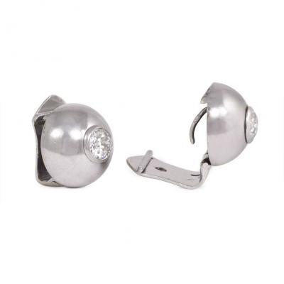 Ren Boivin Art Deco Period Boivin White Gold and Diamond Domed Stud Earrings