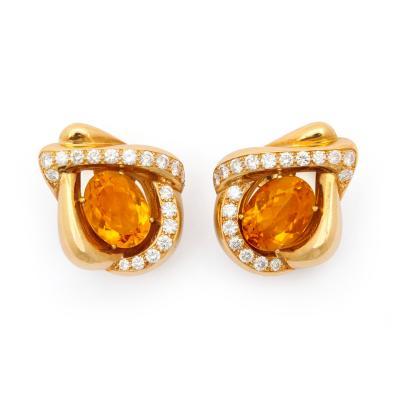 Ren Boivin Citrine Diamond Earrings in 18K by Rene Boivin