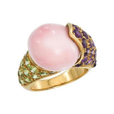 Ren Boivin Conch pearl Amethyst Peridot Ring by Rene Boivin