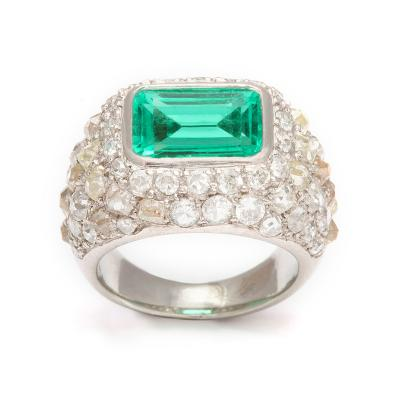 Ren Boivin Emerald Diamond Ring in Platinum by Rene Boivin