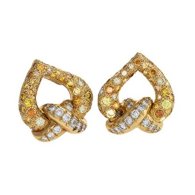 Ren Boivin Gold Earrings with white and Fancy Colored Diamonds by Ren Boivin