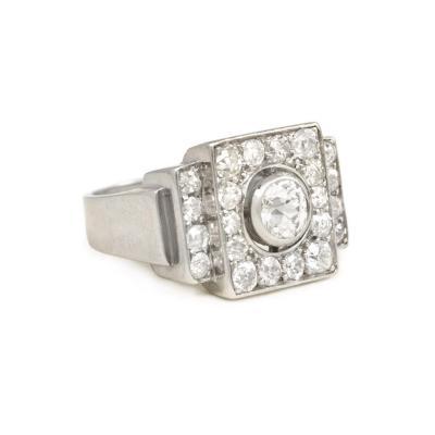 Ren Boivin Ren Boivin Art Deco Diamond and Platinum Ring of Geometric Stepped Design