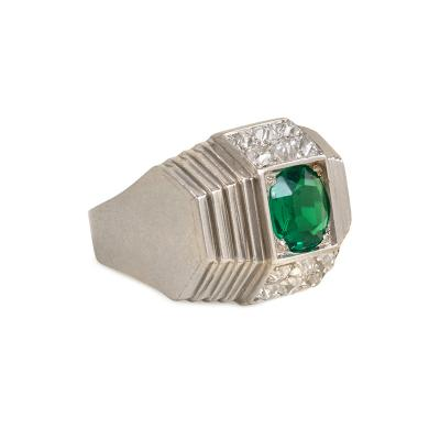 Ren Boivin Ren Boivin Art Deco Platinum Emerald and Diamond Ring