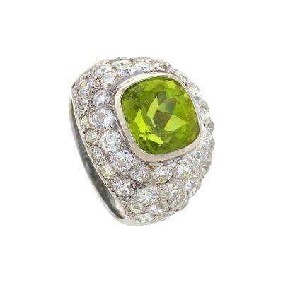 Ren Boivin Ren Boivin Art Deco Platinum Peridot and Diamond Ring