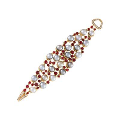 Ren Boivin Ren Boivin Paris Late 20th Century Pearl Ruby Diamond and Gold Bracelet