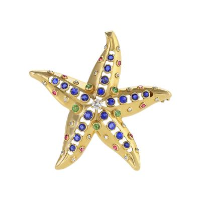 Ren Boivin Ren Boivin Sapphire Diamond Emerald Ruby and Gold Starfish Brooch