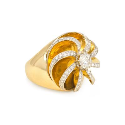 Ren Boivin Retro Gold and Diamond Ring of Sculpted Swirl Design