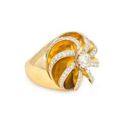 Ren Boivin Retro Gold and Diamond Ring of Sculpted Swirl Design