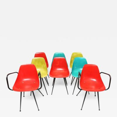 Ren Cailette Set of Eight Rene Cailette Fiberglass Side Chairs
