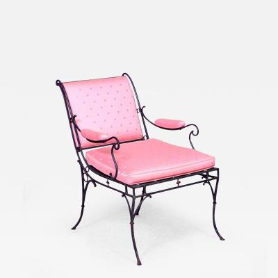 Ren Drouet French 1940s Iron Sleigh Back Scroll Design Armchair