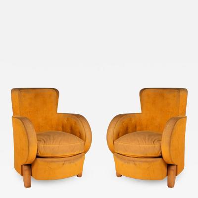 Ren Drouet Ren Drouet Pair of Modernist Club Chairs