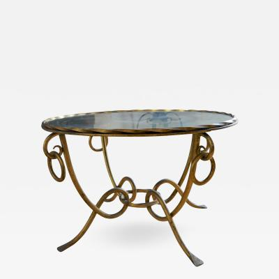 Ren Drouet Rene Drouet Gold Leaf Wrought Iron Coffee Table