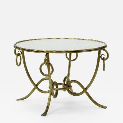 Ren Drouet Rene Drouet gold leaf wrought iron round coffee table