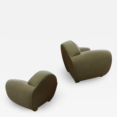Ren Drouet Rene Drouet rarest documented roundish pair of comfy club chairs