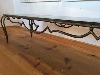 Ren Drouet Rene Drouet superb long gold leaf wrought iron coffee table