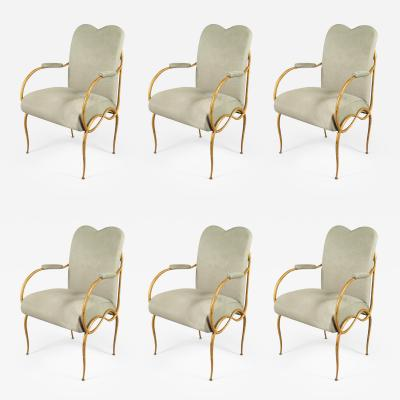 Ren Drouet Set of Six Chairs by Rene Drouet France Art Moderne 1940s