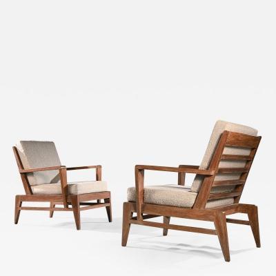 Ren Gabriel Iconic Pair of Rene Gabriel Mid 20th Century Oak Lounge Chairs