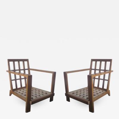 Ren Gabriel Pair of Grid Back Lounge Chairs by Rene Gabriel Paris 1947