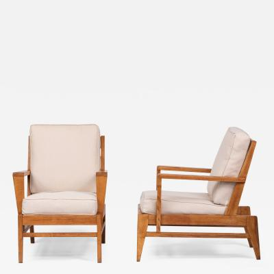 Ren Gabriel Pair of Oak and Linen Armchairs