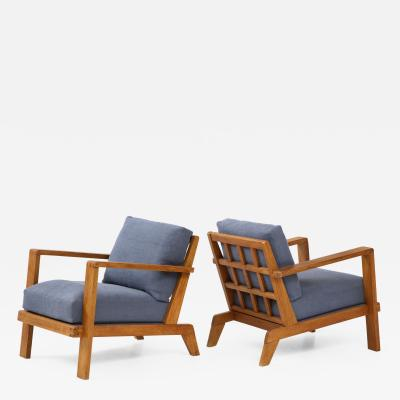 Ren Gabriel Pair of Ren Gabriel Oak Armchairs Upholstered in Blue Linen