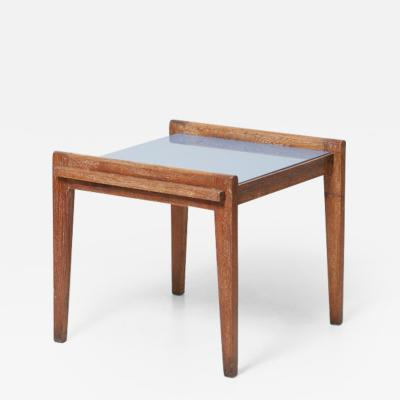 Ren Gabriel Rare Rene Gabriel Side Table in Oak with Vitrolite Top