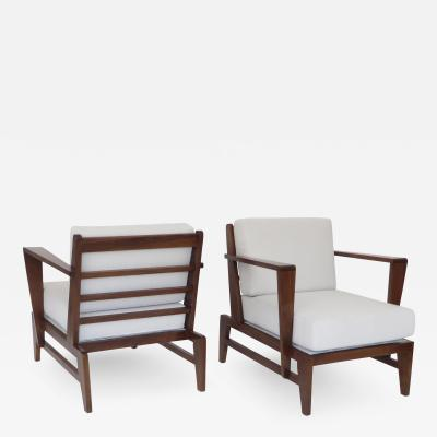 Ren Gabriel Rene Gabriel French Pair of Cherry Wood Lounge Chairs Reconstruction Period