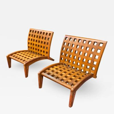 Ren Gabriel Rene Gabriel Rare Pair of Oak Slipper Lounge Chair