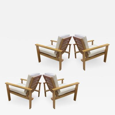 Ren Gabriel Rene Gabriel attributed set of 4 comfy oak cerused garden lounge chairs