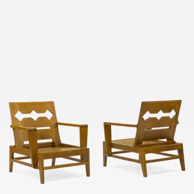 Ren Gabriel Rene Gabriel rarest unseen pair of carved oak lounge chairs