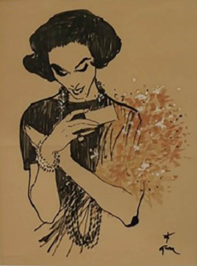 Ren Gruau Drawing of a lady receiving a bouquet by Ren GRUAU 1909 2004
