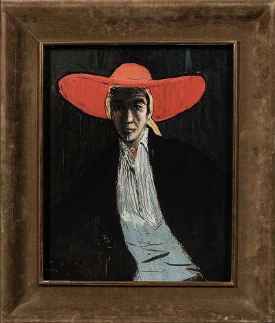 Ren Gruau Figure in a Wide brimmed Red Hat