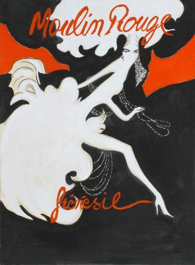 Ren Gruau Ren Gruau Original gouache Sketch Bal du Moulin Rouge