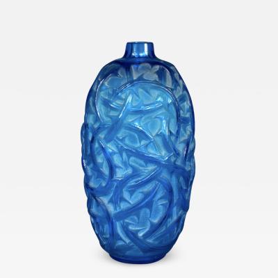 Ren Lalique Lalique Co An Electrical Blue Ronces Vase By R Lalique Designed In 1921