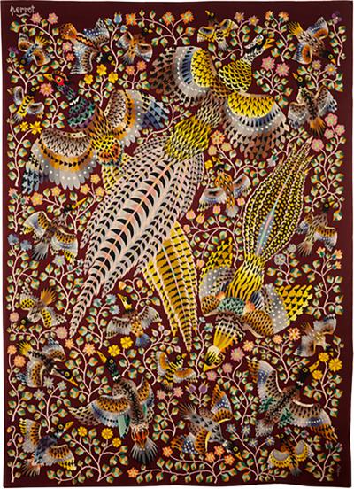 Ren Perrot Modern Aubusson tapestry by Ren Perrot Three pheasants wool
