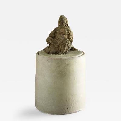 Renato Bassoli Renato Bassoli Glazed Cylinder with Unglazed Figure on Lid